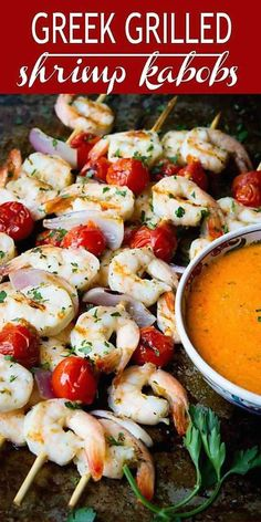 Greek Grilled Shrimp Kabobs with Tomatoes - Cookin Canuck | 1000 Grilled Shrimp Kabobs, Grilled Shrimp Recipes, Shrimp Appetizers, Grilled Meat, Clean Eating Recipes, Healthy Eating, Healthy Recipes, Healthy Dishes, Seafood Dishes