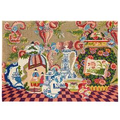 Oriental Pots - Ehrman Tapestry, Taken from his own painting, this Kaffe Fassett design is one of his most popular