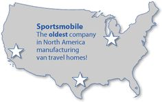 map of three locations in United States noting Sportsmobile as the oldest company in North America manufacturing travel homes