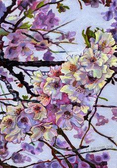 ORIGINAL Acrylic Painting 5x7, The Cherry Branch, Pink Flower Art