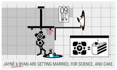 portal wedding invitation, for science, and cake. (you monsters.)