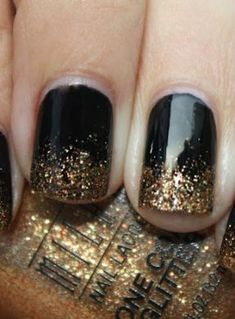 Nails Black Glitter Ombre French Manicures New Ideas Black French Manicure, Black Gold Nails, Gold Manicure, Silver Nails, French Nails, White Nails, Pink Nails, French Manicures, Black Glitter