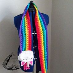 Crochet Scarves, Crochet Yarn, Crochet Clothes, Crocheted Hats, Amigurumi Patterns, Crochet Patterns, Crochet Unicorn Hat, Kawaii Crochet, Tsumtsum