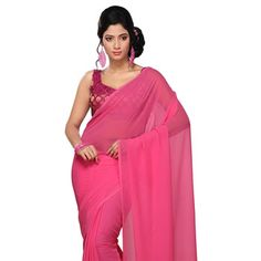 Fuchsia Faux Georgette Saree with Blouse