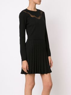 Red Valentino tulle panel pleated knit dress