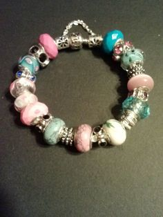 "Leather 8"" bracelet with murano glass beads and mixed variety of spacers,"