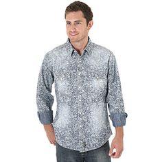 Wrangler Retro® Long Sleeve Denim with Paisley Overlay Shirt (2XT)