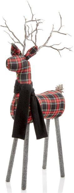 Winter holiday plaid deer figurine