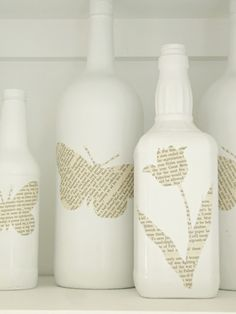 Use various bottles,spray paint white, and mod podge newspaper cut outs...fresh white decorative accents.