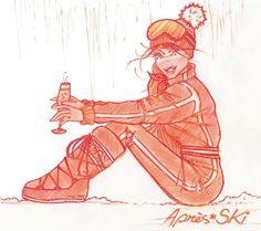 Après ski / Ski Wear / monochome Ski Ski, Apres Ski, Ski Posters, Ski Wear, Vintage Ski, Skiing, Princess Zelda, Illustrations, Fictional Characters