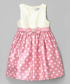 Loving this Pink Rhinestone Dot Shantung Dress - Infant, Toddler & Girls on #zulily! #zulilyfinds