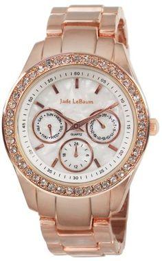 Jade LeBaum Ladies Rose Gold Bracelet Boyfriend Watch Chunky Dial Large Face Crystal Bezel  JB202732G ** For more information, visit image link.