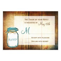 See MoreTeal Mason Jar Barn Wood Rustic Wedding RSVP Cardsso please read the important details before your purchasing anyway here is the best buy