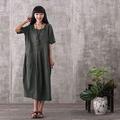 Women summer short sleeve vintage loose pullover green linen dresses with pockets