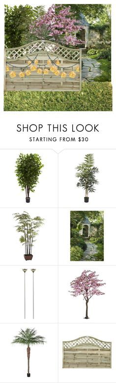 """""""A simple fence with a beautiful backyard"""" by hanisi ❤ liked on Polyvore featuring interior, interiors, interior design, home, home decor, interior decorating, Nearly Natural, Pier 1 Imports and NKUKU"""