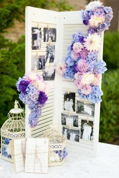 Cute wedding idea. Two shutters, clothes pins, and pictures. I would put up a couple pictures of bride/groom as kids :) piano