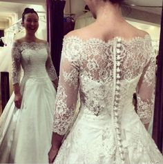 Lace Wedding Dress,Long Wedding Dress,Off the Shoulder White