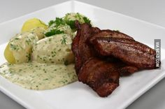 The national dish of Denmark, fried pork with parsley sauce. What is your country's national dish?
