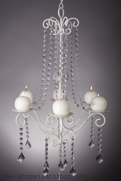 """White Metal Crystal Beaded Hanging Candle Chandelier 56"""""""