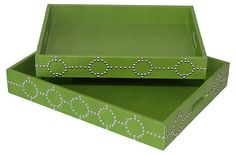 One Kings Lane - The Perfect Coffee Table - Green Studded Trays, Asst. of 2