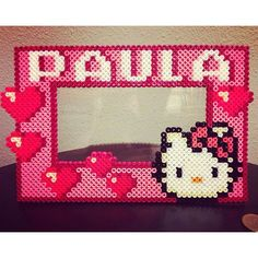 Custom Hello Kitty picture frame hama beads by seedzell