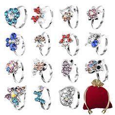 Yantu Children Kids Boys 20pcs Cute Crystal Adjustable Rings Jewelry pTsg2cA