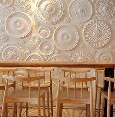 DIY: Ceiling Medallions as Decor : Remodelista awesome idea with ceiling medallions Wall Finishes, Ceiling Medallions, Wall Treatments, Restaurant Design, Cream Restaurant, Wall Design, Floor Design, Diy Home Decor, Home Improvement