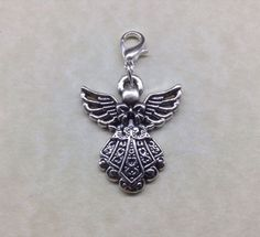 GUARDIAN ANGEL KEYRING - Tibetan Silver - Key Fob - Bag - Zip - Handbag CHARM