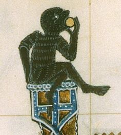 Hairy figure from the St Omer Psalter - folio 56v Work on the Psalter started around 1330 for a member of St Omer family of Mulbarton, Norfolk, England. It was unfinished, with work starting again around 1400. Yates Thompson MS 14, folios 43v & 44r, Made in Norfolk England 1330-1420.