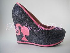 Perfect shoes for the Barbie Girl in any doll! Black wedge platforms covered in black glitter with pink glitter trim and pink glitter Barbie