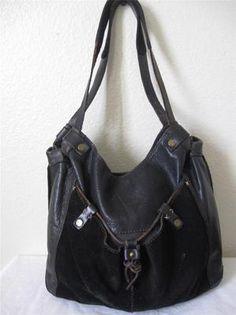 Medium Used Lucky Brand Black Leather and Suede Shoulder Bag Handbag Purse   eBay
