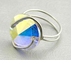 Celebrity Ring Swarovski Rivoli Button Ring on Etsy Crystal AB. Free re-sizing of rings!   www.trinketsnwhatnots.etsy.com