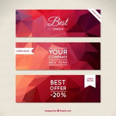 Polygonal banners in red tones Free Vector