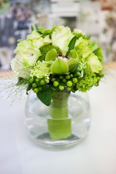 Image detail for -Green Hand Tied wedding bouquet of Green Roses, Green Dianthus, Green . Green Wedding Flower Arrangements, Ivory Wedding Flowers, Purple And Green Wedding, Bridal Flowers, Floral Wedding, Wedding Bouquets, Green Centerpieces, Wedding Table Centerpieces, Table Decorations