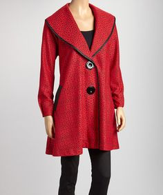 Take a look at this Red & Black Geometric Lace Double-Button Jacket - Women & Plus by Come N See on #zulily today!
