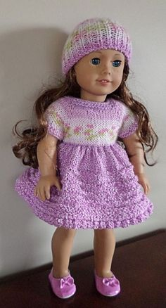 """AMERICAN GIRL DOLL - Dress and hat knitted in Bernat Baby Jacquards yarn """"Petunia"""" and Bernat Baby Coordinates """"Orchid"""". Also fits Gotz, Madame Alexander & similar 18"""" dolls. AVAILABLE"""
