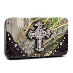 Realtree camouflage extra deep frame wallet w/ rhinestone cross - Coffee/Green
