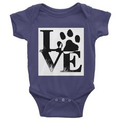 LOVE PAW PRINT Infant short sleeve one-piece