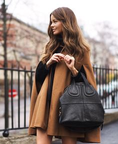 Adorable coat and oversized bag