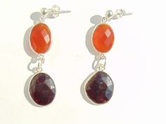 Earrings - Garnet, Carnelian and Silver 925 Length: approx. 4.5 cm, Weight approx 4 g / pc by FantasyStones on Etsy