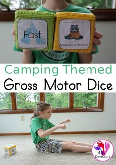 Free Camping Theme Gross Motor Dice - it has 6 movements for kids to do and loads of fun - 3Dinosaurs.com #grossmotor #grossmotordice #freeprintable #summerprintable #3dinosaurs Movement Activities, Gross Motor Activities, Preschool Learning Activities, Music Activities, Summer Activities For Kids, Camping Activities, Toddler School, Kids Moves, Camping Theme