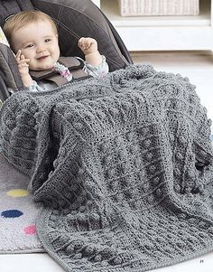 When it's time to take Baby bye-bye, the tiny crocheted throws in On the Go Baby Blankets from Leisure Arts are just right for making car seats cozy and warm. Classic cables (created with post stitches), popcorns, and other texture-rich patterns bring an Granny Square Häkelanleitung, Granny Square Crochet Pattern, Crochet Borders, Crochet Squares, Crochet Blanket Patterns, Crochet Edgings, Crochet Blankets, Crochet Baby Blanket Beginner, Baby Knitting