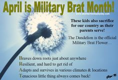 April is Military Brat Month!  Sending some <3 out to our little ones.     www.abettermedaybyday.com