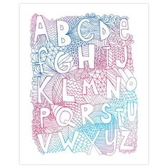 ポスター/alphabet by Nate Duval Zen Doodle, Doodle Art, Doodle Ideas, Lettering Design, Hand Lettering, Alphabet Print, Alphabet Soup, Alphabet Fonts, Police