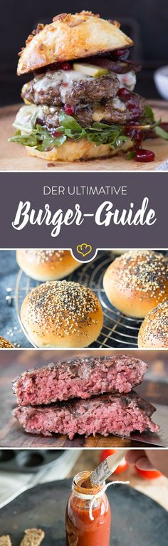 Anleitung Burger selber machen/Patty selber machen/Buns selber backen In this guide you will learn how to make a perfect burger at home, make patty, bake buns and choose toppings. Home Burger, Burger Co, Burger Buns, Burger Party, Burger Recipes, Pizza Recipes, Beef Recipes, Cooking Recipes, Best Burger Patty Recipe