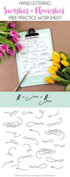 Hand Lettering: Free Swash Practice Worksheet | DawnNicoleDesigns.com