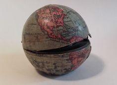 Antique-19thc-Travelling-Ink-Well-Globe-Desk-Top-Pocket-Map