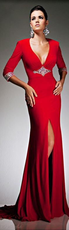 Trendy Red Dress : Tony Bowls Red Evening Gown