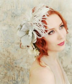 white feather for red headed bride