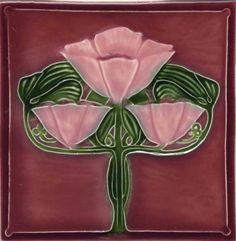 """Tile V109H - Reproduction Art Nouveau Tile - porteous nz - Tiles are aprox. 150mm x 150mm (6"""" x 6"""") or 150mm x 75mm (6"""" x 3"""")."""